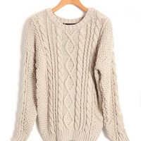 Chunky Cable Knit Jumper in Beige