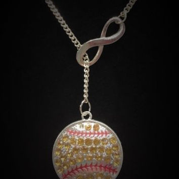 Infinity Crystal Softball, Sports, Gift For Mom, Lariat Style Necklace