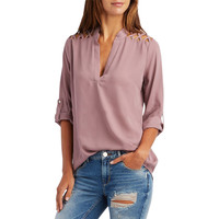 Autumn Blusas Women Blouses Open Shoulder Office Ladies Shirt Loose V Neck Sexy Casual Tops Plus Size Women Clothing LJ5437T