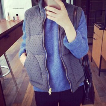 Winter and Autumn Women Casual Quilted Padded Zip Up Winter Vest Jackets Warm Outwear199