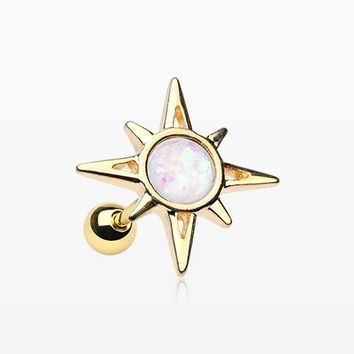 Golden Cosmic Sunburst Opal Cartilage Tragus Earring