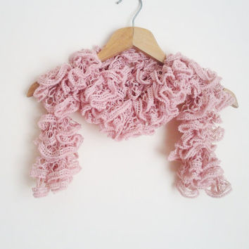 Pink Scarf / Ruffle Scarf / Knit with powder pink lace yarn / Womens Scarf