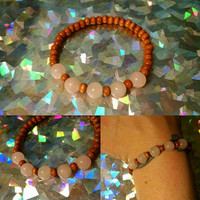 Relaxing Rose Quartz and Wood Bead Stretch Bracelet