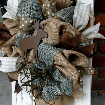 Moose Nursery Burlap Moose Wreath Rustic Nursery Woodland Burlap Wreath Baby Boy Shower Burlap Winter Wreath Boys Room Decor Brown Newtral