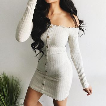 New Women Button Slim Long Sleeve Off Shoulder Cocktail Party Club Bodycon Mini Dress drop shipping designer clothes
