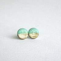 Mint gold stud earrings- Elegant and everyday earrings