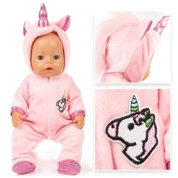 Hot Sale Baby New Born Doll Clothes 18 inches 43cm Pink And Blue Coat Unicorn Doll Accessories For Children Birthday Gift