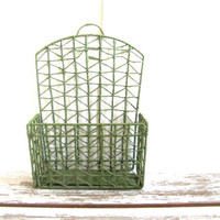 20% OFF SALE...vintage wall hanging basket / Green twine organizer // Magazine basket