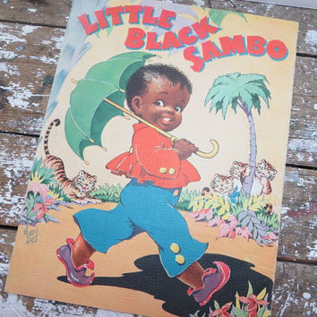 Little Black Sambo Cloth-Like Book Ethel Hays Sambo Book 1942 Black Americana Sambo Collectibles Mammy