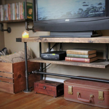 TV Console Table, Steel Pipe, Industrial Style, Made with Pride in Michigan!
