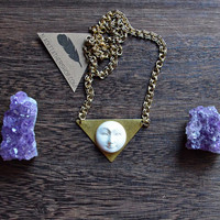 White Moon on Brass Triangle Necklace