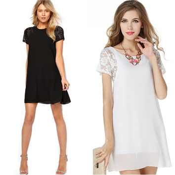 2016 Women Lace Patchwork Short Mini Dress New Chiffon Summer Short Sleeve Casual A-Line Dresses