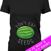 Funny Pregnancy Shirt Pregnancy Clothing Maternity Wear Don't Eat Watermelon Seeds Maternity Tops Expecting Mother Gift Ladies Tee MAT-553