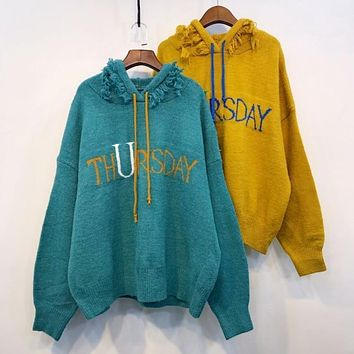 Thursday Fringe and Tassle Hoodie Style Knit Sweater