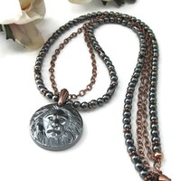 Hematite And Copper Beaded Great Spirit Lion Head Pendant Necklace