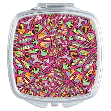 Kaleidoscopic Multicolored Abstract Pattern Vanity Mirror