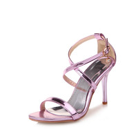 new fashion summer women shoes patent leather thin heel women sandals high heel sexy party shoes gold small big size 30-47 0394