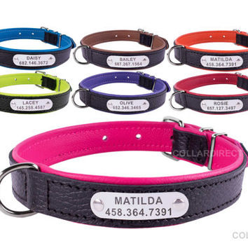 Laser Engraved Dog Collar, Personalized Dog Collar, Leather Dog Collar, Custom dog collars