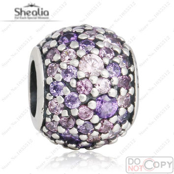 2016 Pave Purple Pink CZ Lights Beads Fit Pandora Charms Bracelets Original 925 Sterling Silver Lights Bead For Jewelry Making