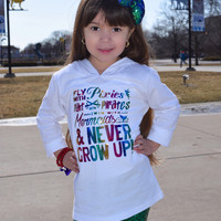 Pixies, Pirates, Mermaids & Never Grow Up Glitter Shirt - Many Styles to Choose From - Baby, Infant, Toddlers, Girls, Women, Men, Unisex