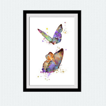 Butterfly watercolor poster Butterfly print Butterfly decor Butterfly wall art Home decoration Living room decor Kids room art poster W550