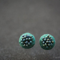 Glorious green stud earrings Small modern earrings Felt earrings Round ear stud Teal blue post earrings Bridesmaid gift Mini earrings