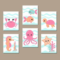 GIRL OCEAN Animals Wall Art, Nautical Nursery Decor, Girl Ocean Animals, Girl Bathroom, Under the Sea Animals, CANVAS or Print Set of 6