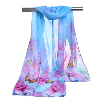 Hot new fashion style women's scarf long shawl spring silk pashmina chiffon Butterfly scarf rose printed Shawl