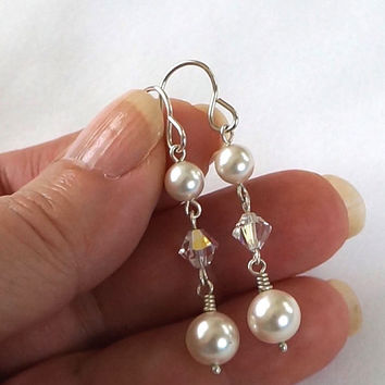 White Pearl Dangle Earrings, White Wedding Swarovski Pearl Crystal AB Drop Earrings, Silver and White Earrings, Wedding Jewelry