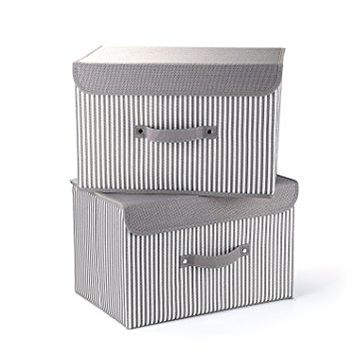 Storage Bins,Mee'life Set of Two Foldable Storage Box with Lids and Handles Storage Basket Needs Containers Organizer With Built-in Cotton Fabric Closet Drawer Removable Dividers Office Home(Gray)
