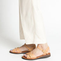 Vintage 70s Tan Leather Sandals with Ankle Strap and Buckles | 7.5