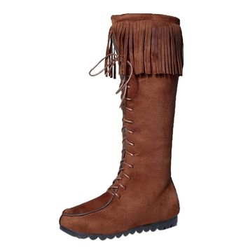Lace Up Women Knee Long Boots Fringe Flat Heels Long Boots Tassel Knee High Boot