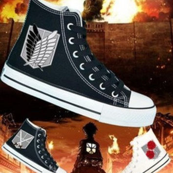 Attack on Titan Shoes hand painted shoes Custom Converse Shoes painted Attack on Titan Converse Shoes