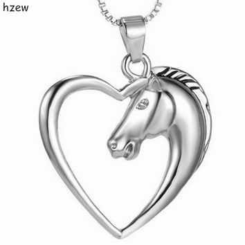 hzew Christmas Birthday Gift Hollow Heart Horse Pendant Necklaces Silver color Horse in Heart Necklace