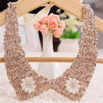 Vintage Beaded Collar jewelry neck Lace