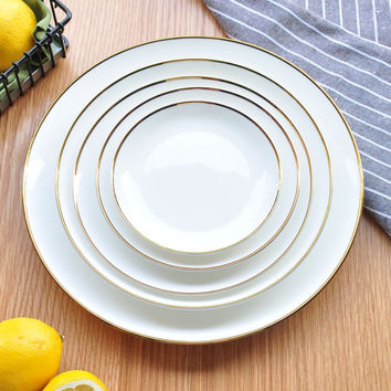 White Ceramic Tableware Bone Porcelain Dish Plate