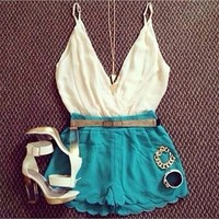 468132 Cute white and green deep V-neck sleeveless casual suit | Candy Blue Shop