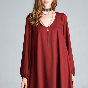 Loose Fitted V-Neck Long Sleeve Swing Dress