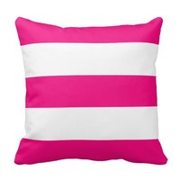 New Bright Pink & White Stripe Couch Pillow Gift
