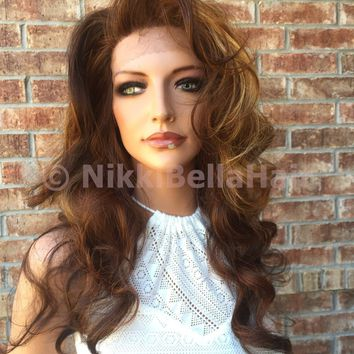ROSS Auburn Blond Bayalage Curly Front Lace Wig 22""