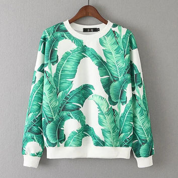 FW16 Stylish Leaf Print Casual Pullover Tops Hoodies [8511502535]