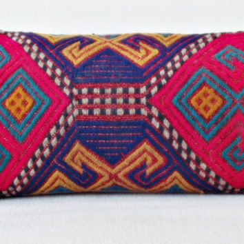 LUMBAR Anatolian Kilim Pillow Cover, Bright Pink Lila Yellow Handwoven Decorative Lumbar Pillow, Throw Piillow 10,6' x 22,8 ' INCH