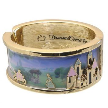 Gold Plated And Enamel Cinderella Castle Scene Bangle From Disney Couture : TruffleShuffle.com