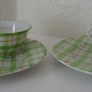 Yamaka Fine China Plate & Cup Sets Green & White Plaid Design