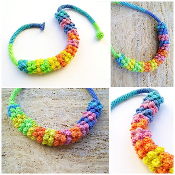 Colorful necklace Rainbow necklace Statement necklace Chunky necklace
