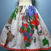 Beautiful Map of the World Skirt, Two Complete Maps, All Sizes, Elastic Waist, Plus Size!