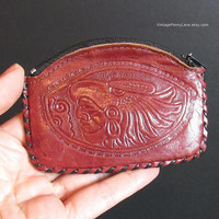 Vintage Tooled Leather Mexican Coin Purse Wallet, Mayan Handmade Change Purse