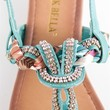 Jeweled and Woven Scarf Thong Sandal - Teal at Lucky 21 Lucky 21