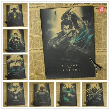 Vintage League of Legends LOL Heroes Game Poster Bar Kids Room Home Decor Retro Kraft Paper Painting Wall Sticker Wall Decals