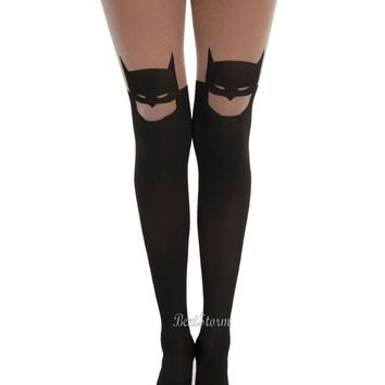 Licensed cool DC  Batman Silhouette Part Sheer/Black Tights Pantyhose Nylons S/M M/L NEW